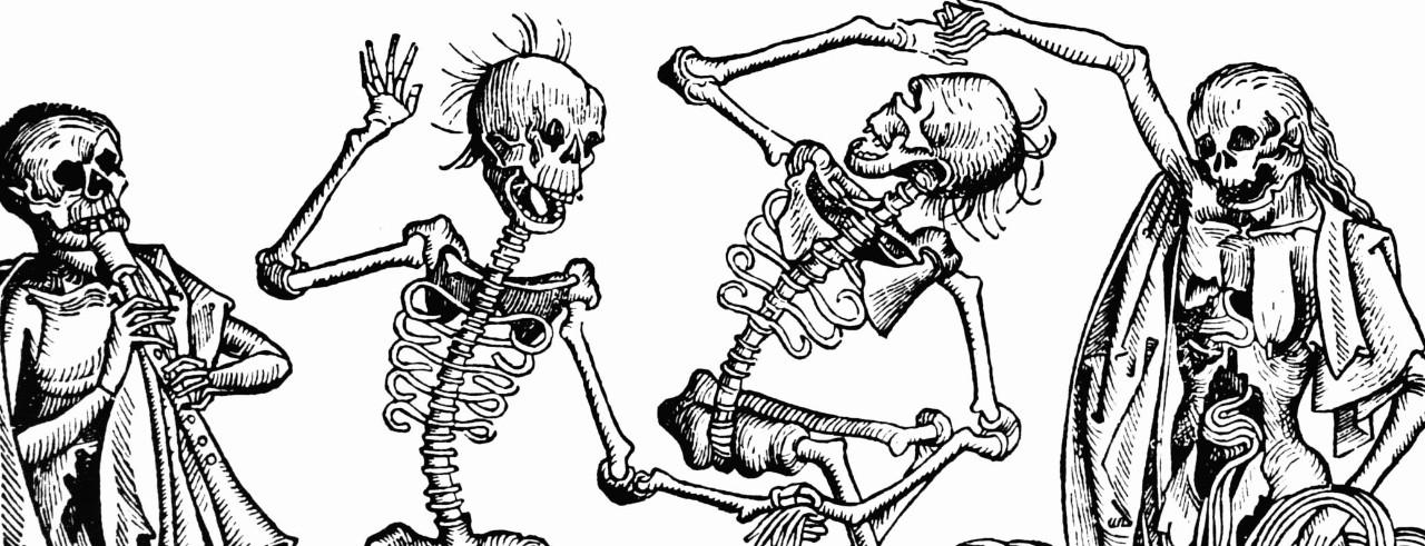 An illustration of skeletons dancing