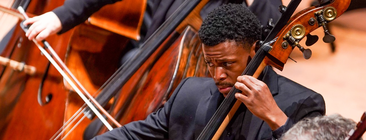 Ian Saunders, a graduate of the CSO/CCM Diversity Fellowship program, performs with the Cincinnati Symphony Orchestra.