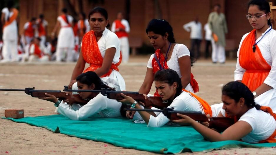Members of the Durga Vahini train for battle