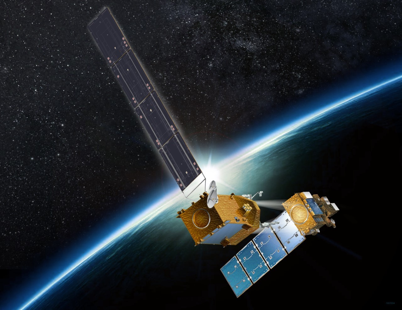 An illustration shows a satellite docking with another in space.