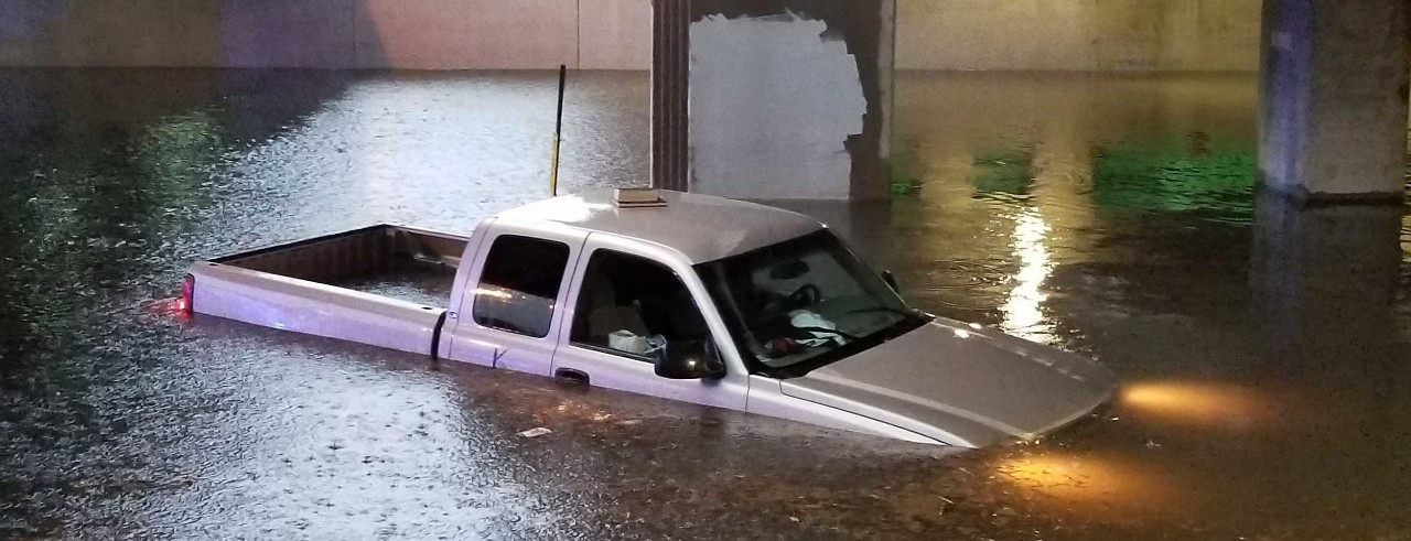 Truck submerged in New Orleans 2018 flood. Photo/Bart Everson