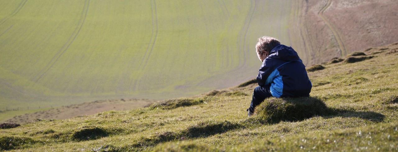 Child overlooking field
