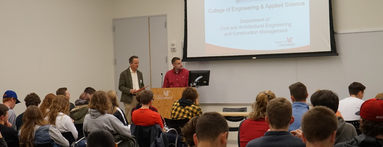 Students gather to hear a presentation at Engineer Your Major event.