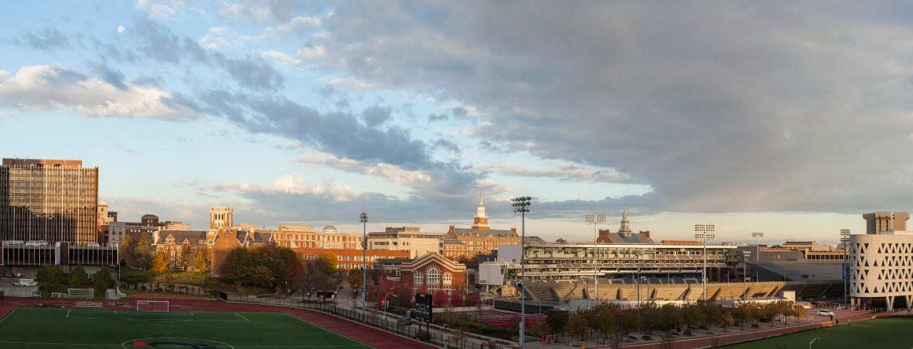 Sunrise panoramic view of campus.