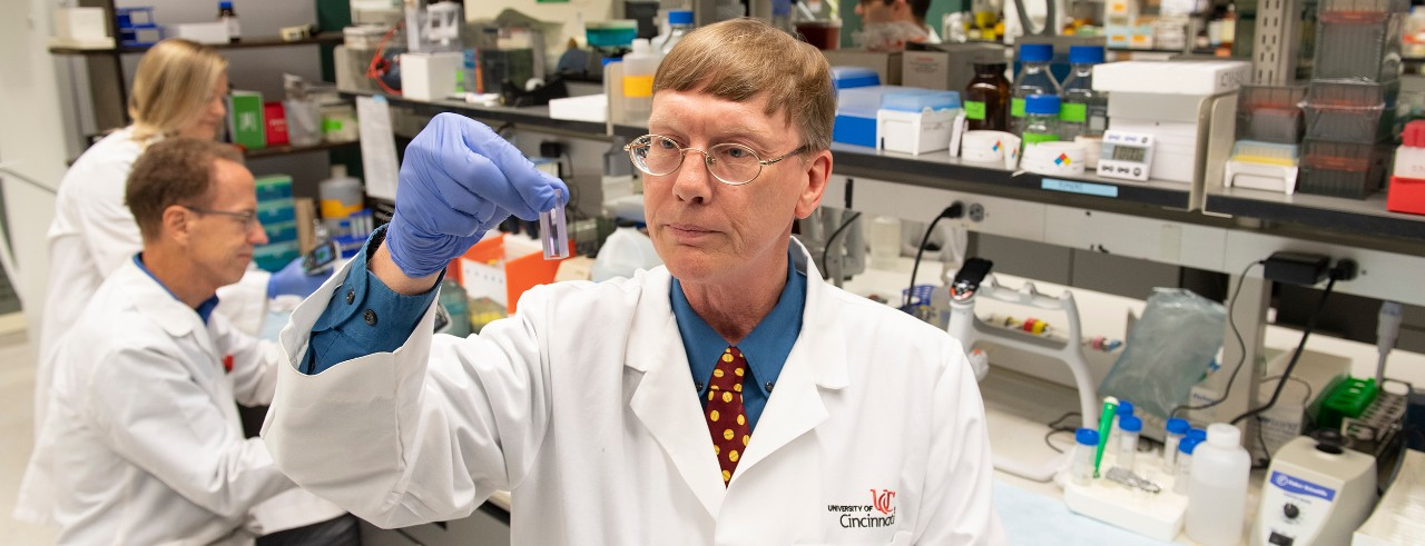 Andrew Norman, PhD, in the lab.