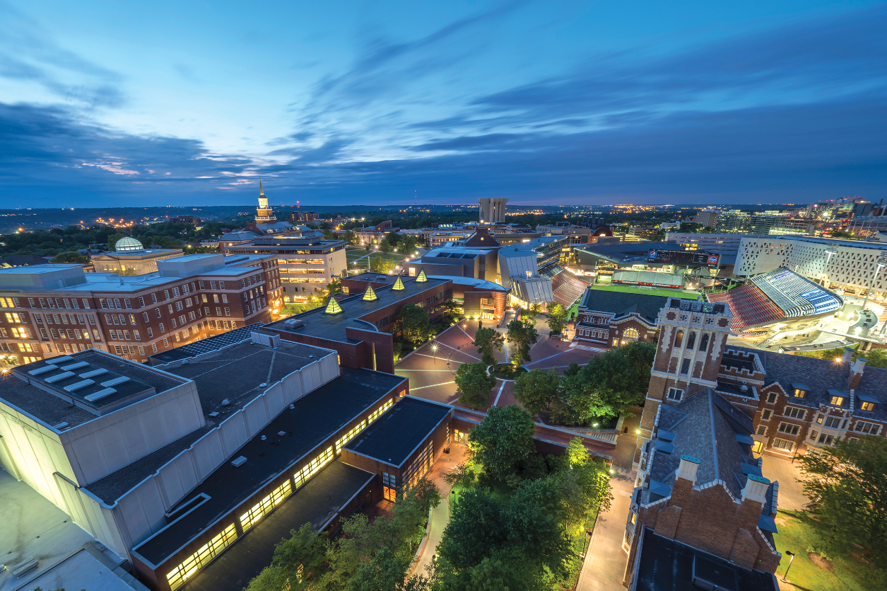 A bird's-eye-view image of the CCM Village at dusk.