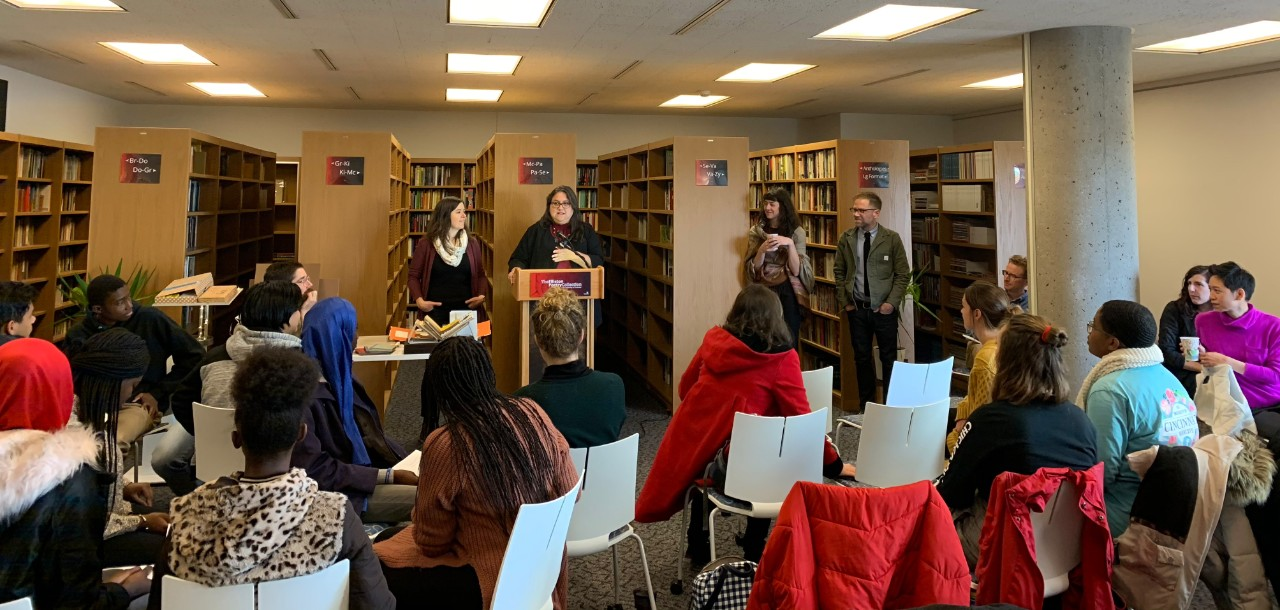 Collaborative poetry reading in the Elliston Poetry Room