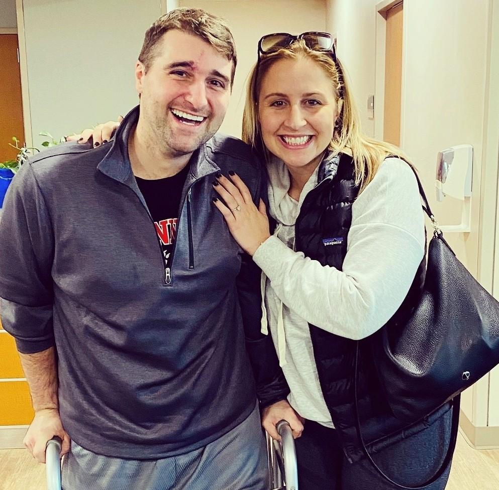 Noah Stepaniak with his fiancee Kate Reverman