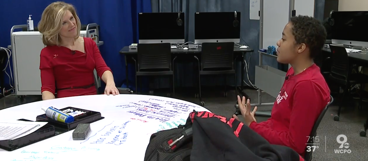 WCPO's Krysten Hartman interview UC's Mary Williams at Hughes High School
