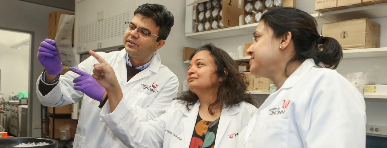 Soma Sengupta with members of her lab