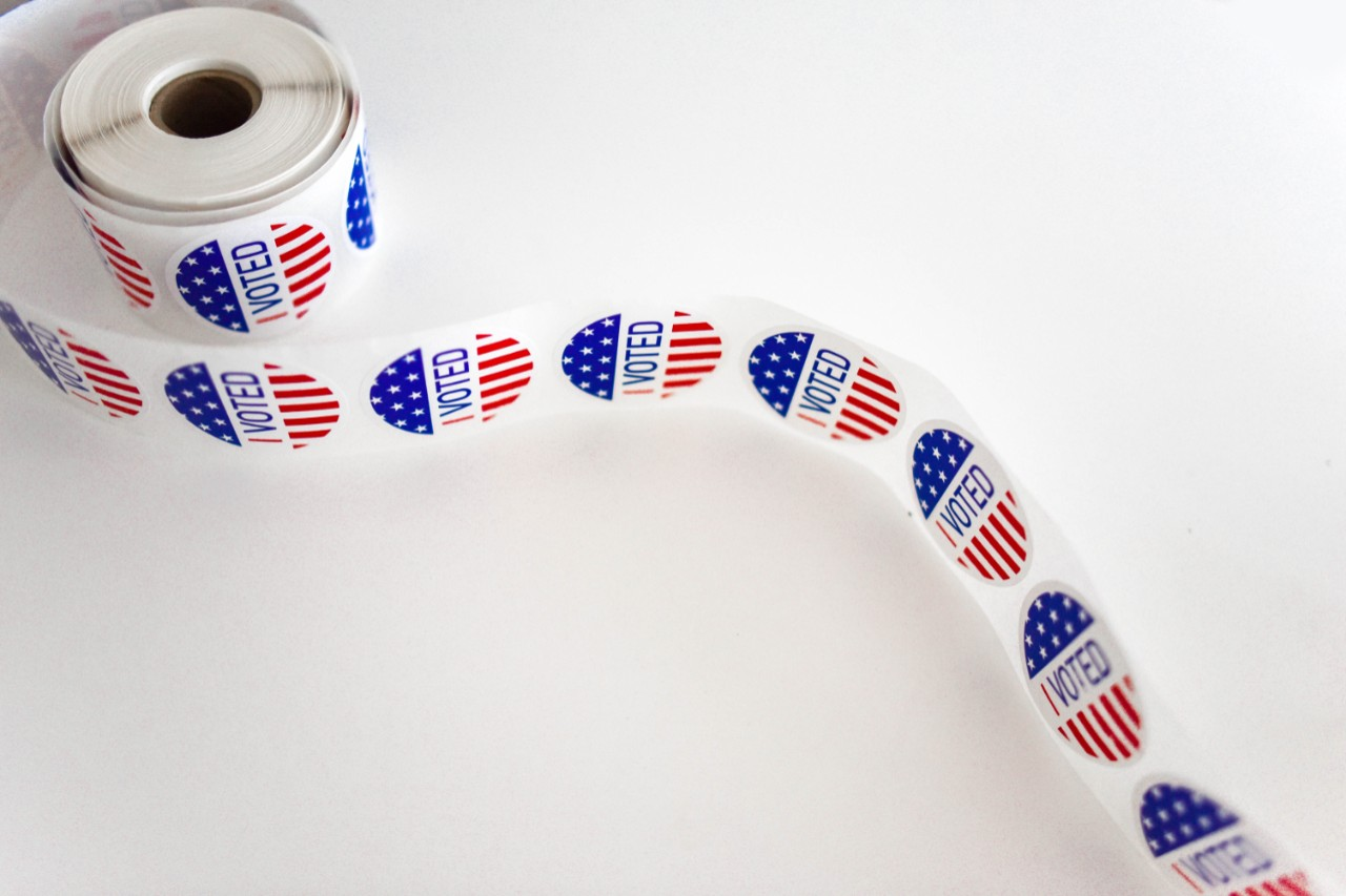 'I voted' stickers on a tape