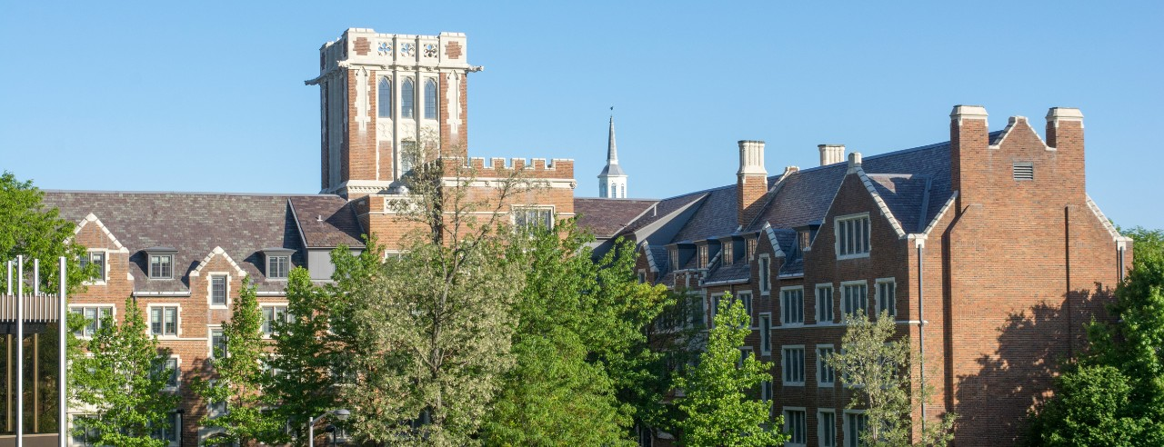 Tops of brick buildings on campus surrounded by trees