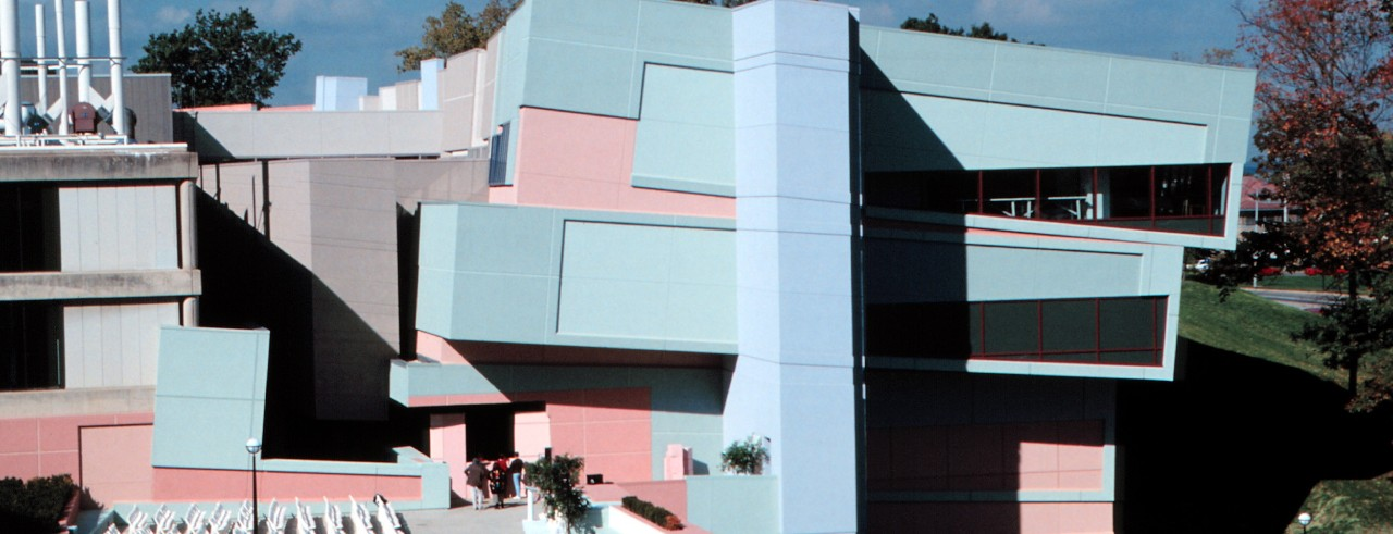 DAAP building features unusual angled architecture and pastel colors