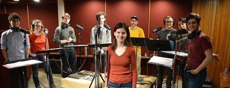 """Cast members for the """"O'Toole From Moscow"""" radio play in the WVXU recording studio"""