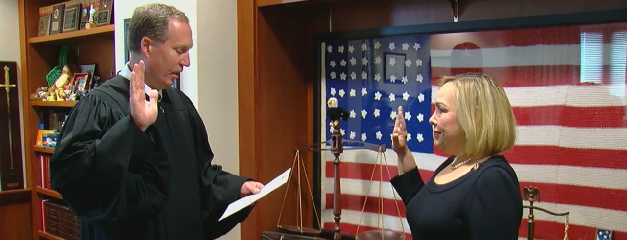 Attorney Berti Garcia Helmick is sworn in as the first Hispanic woman to serve as a magistrate on Hamilton County's Probate Court. (Local 12 WKRC-TV)