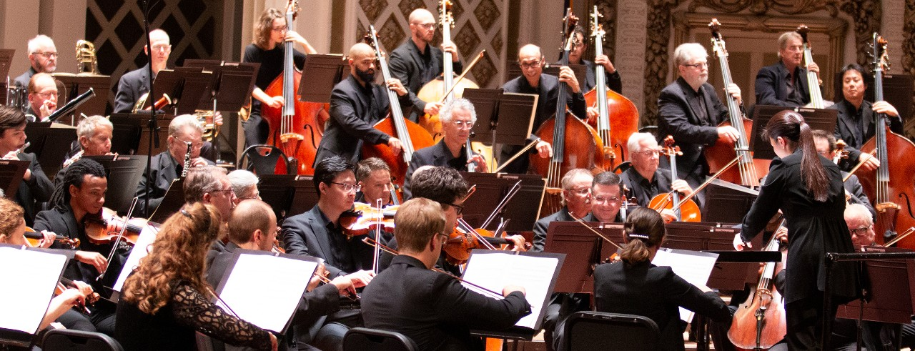 CCM students Jordan Curry and Michael Martin perform with the Cincinnati Symphony Orchestra as part of the CSO/CCM Diversity Fellowship program.