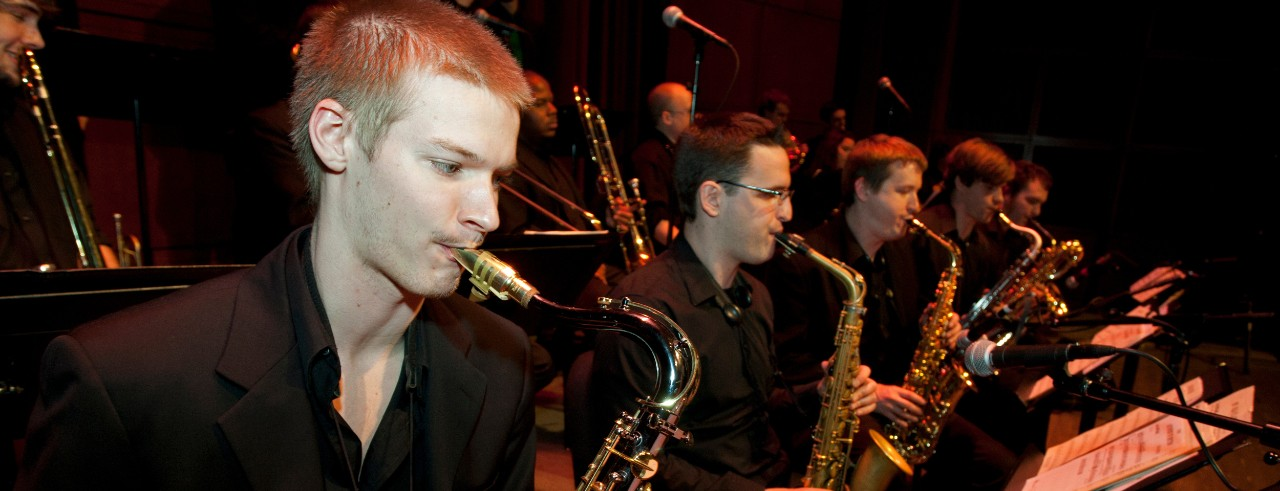A picture of the CCM Jazz Ensemble during a March 2012 rehearsal. Photo/Dottie Stover/UC Creative Services.