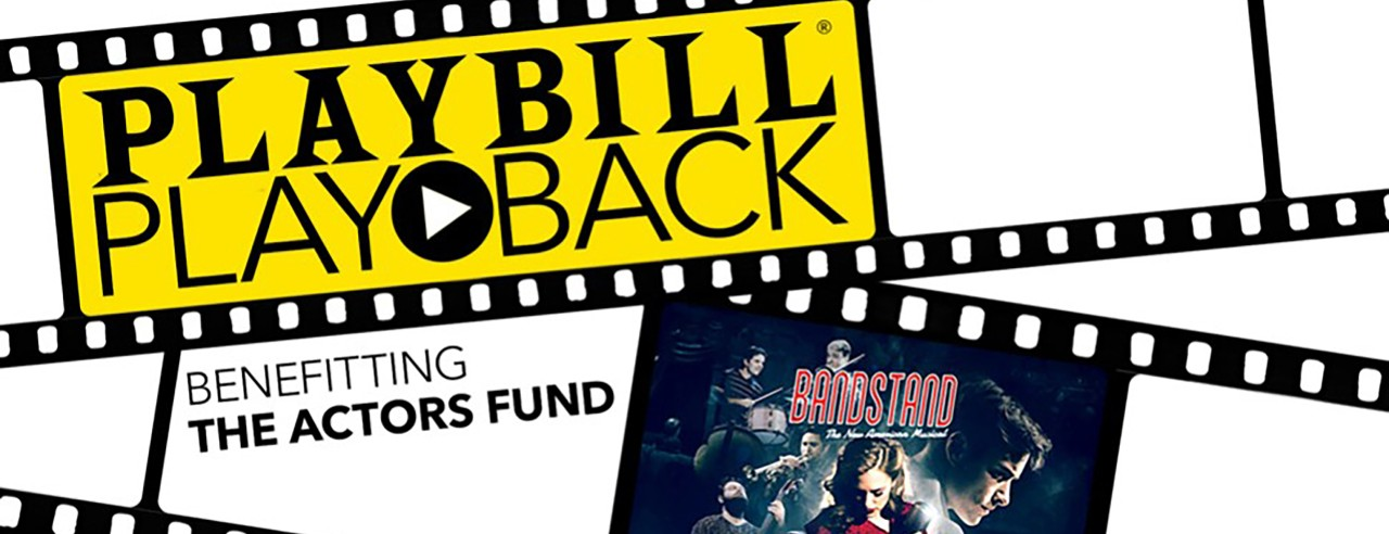 A graphic of for Playbill's Playback series depicting a film reel