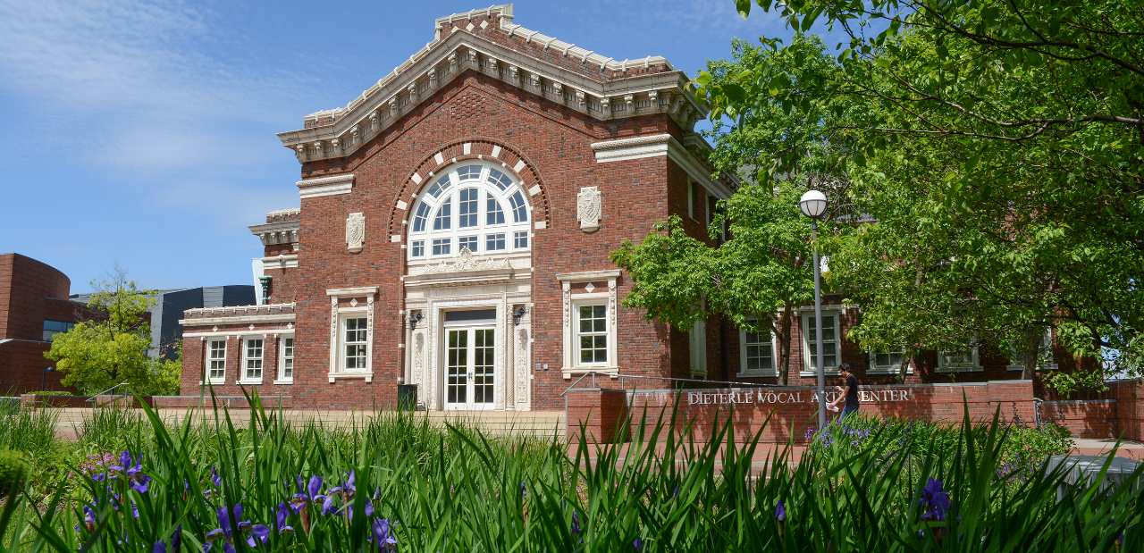 A photograph of the Dieterle Vocal Arts Center in CCM Village.