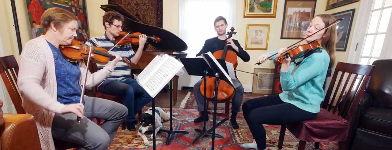 String musicians perform a quartet in their living room