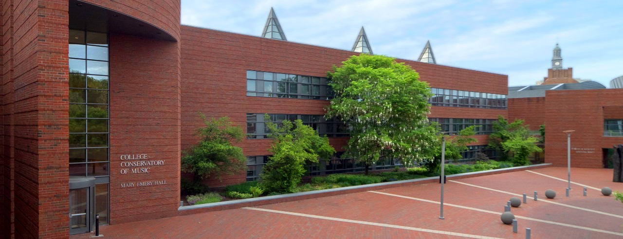 A photo of the entrance to the CCM Atrium on UC's campus. Photo/UC Creative Services.