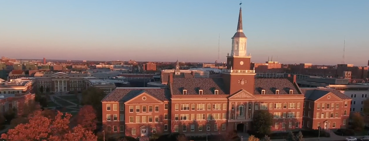 aerial view of McMicken Hall at sunset