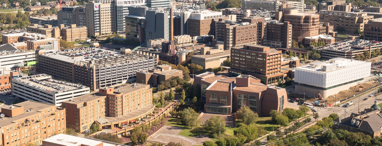Arial view of UC's medical campus