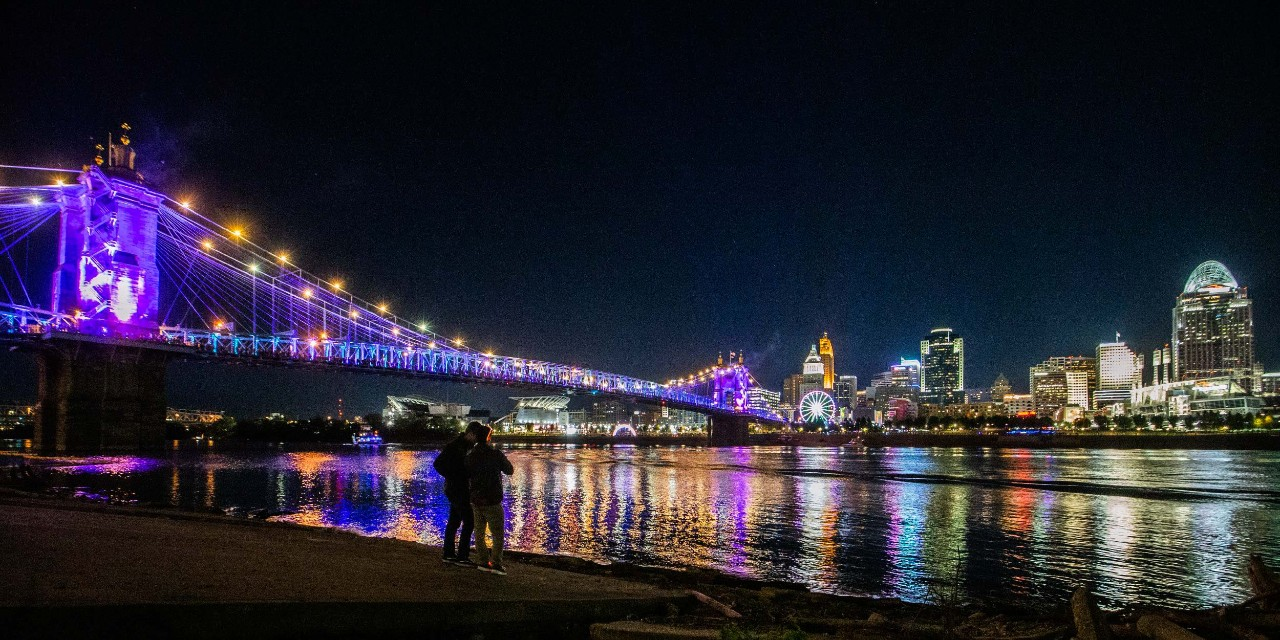 The annual Blink light show illuminates Cincinnati's skyline.