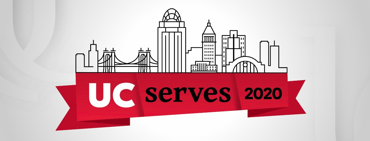 "Graphic of Cincinnati skyline on top of a red banner reading, ""UC Serves 2020."""