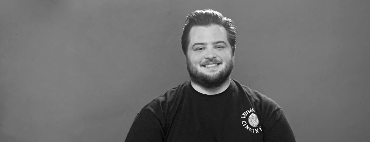 black and white headshot of UC student Richard Richard Vaglienti