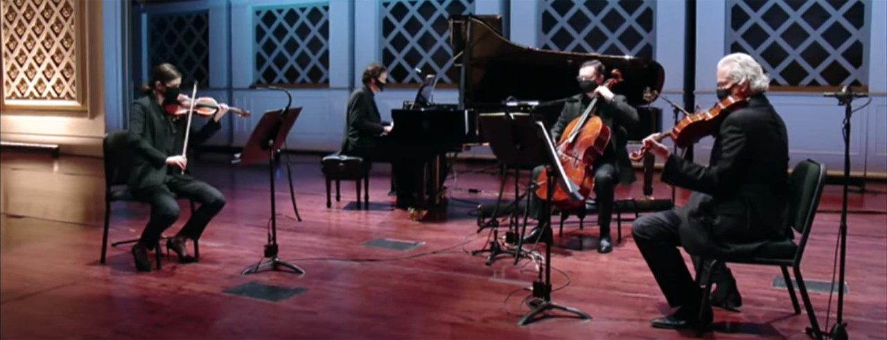 Four CSO musicians on stage at Music Hall