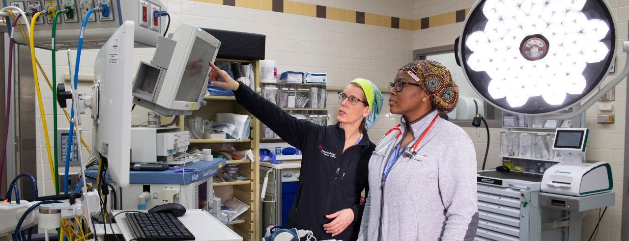 A nursing supervisor points toward a screen as a nursing students looks on in an examination room