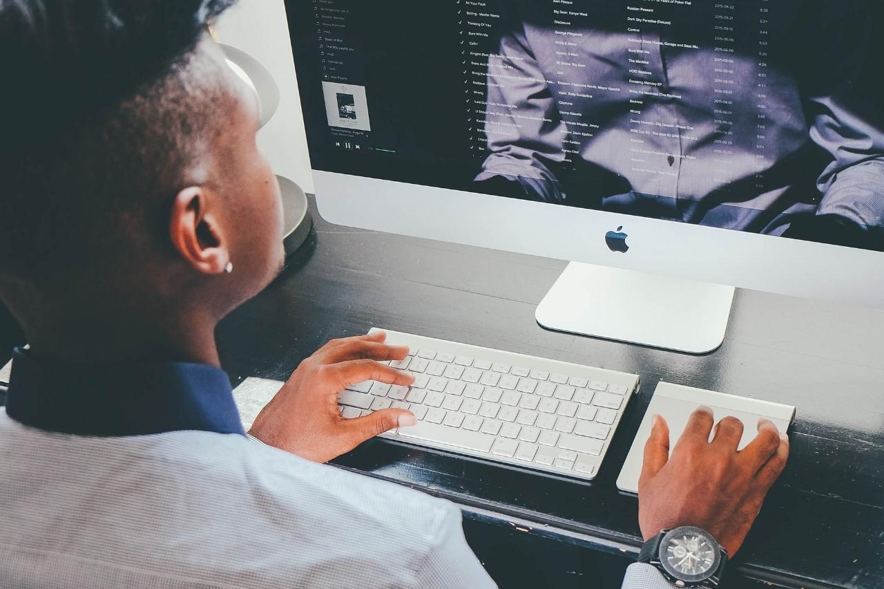 Student explores job opportunities online.