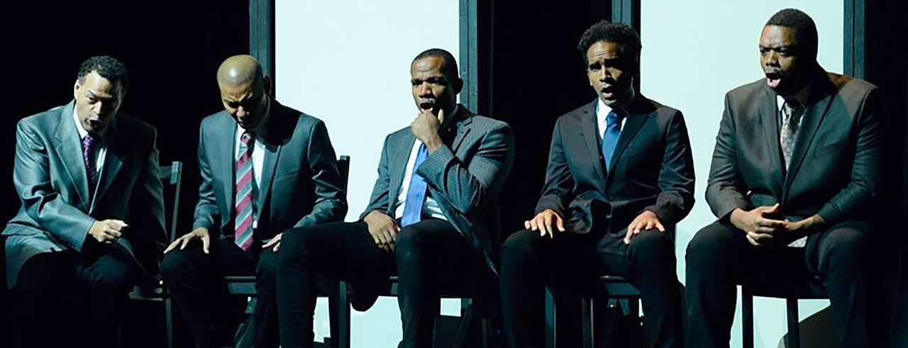 """Long Beach Opera singers onstage during a performance of """"The Central Park Five"""""""