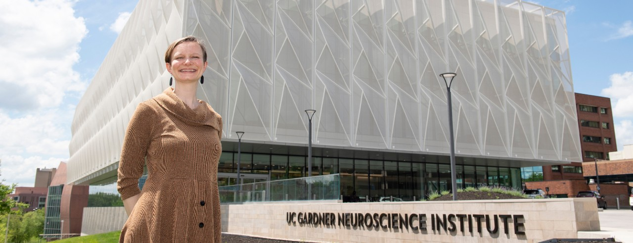 Emily Nurre, MD, outside of the UC Gardner Neuroscience Institute