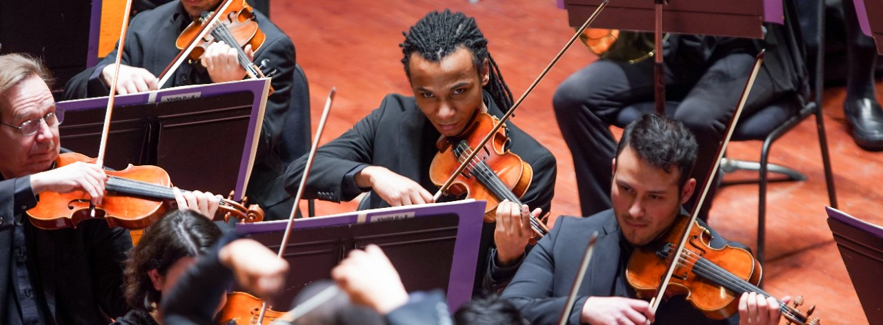 CCM graduate students Jordan Curry and Magdiell Antequera perform with the Cincinnati Symphony Orchestra as CSO/CCM Diversity Fellows.