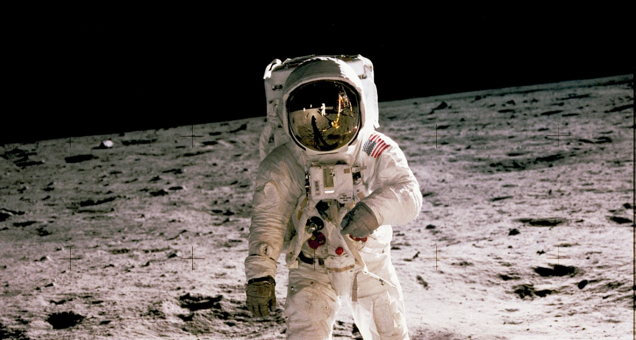 Neil Armstrong walks on the moon during NASA's historic Apollo 11 mission.