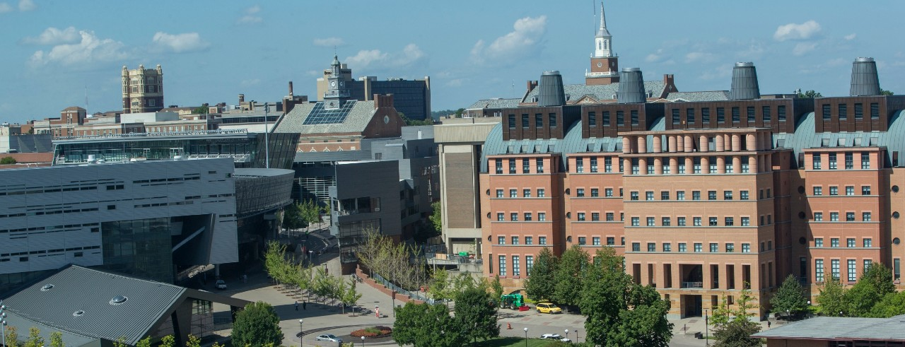 UC's campus from the perspective of the Engineering Research Center.