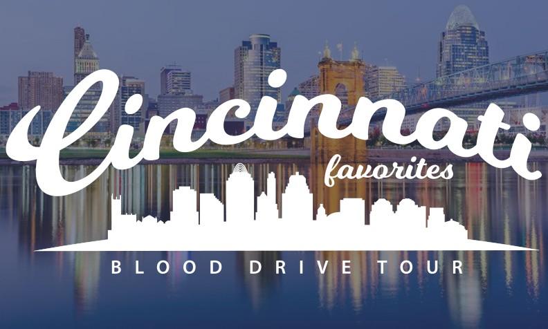 Photo of Cincinnati Skyline  at night with white overlay of Cincinnati Favorites Blood Drive Tour logo