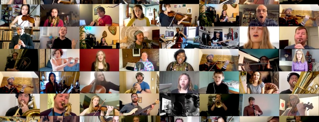 """A screenshot of artists participating in the virtual performance of """"Holding On"""""""