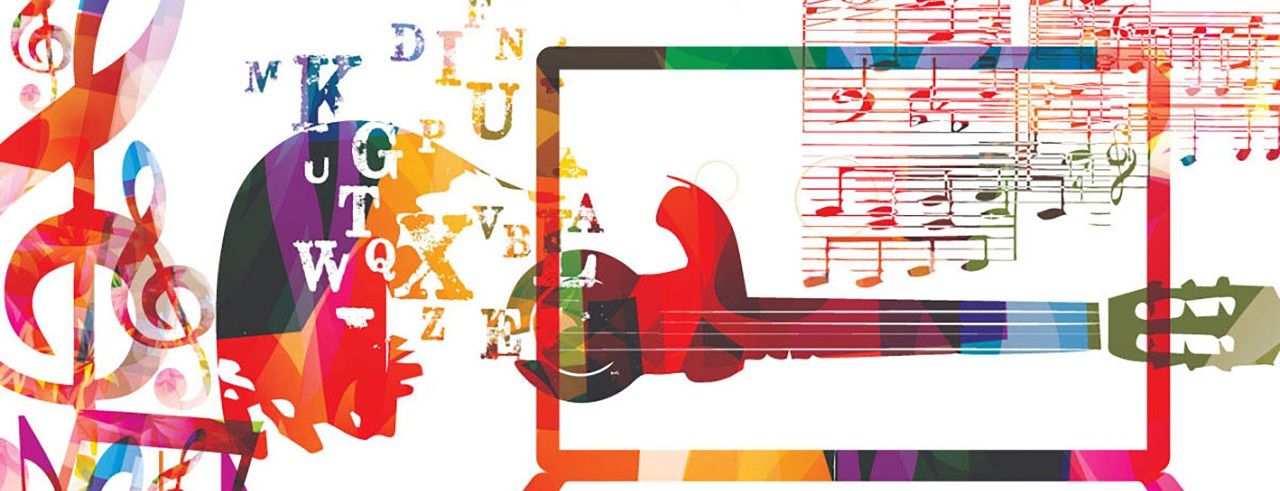 A colorful graphic of a guitar, computer and music notes