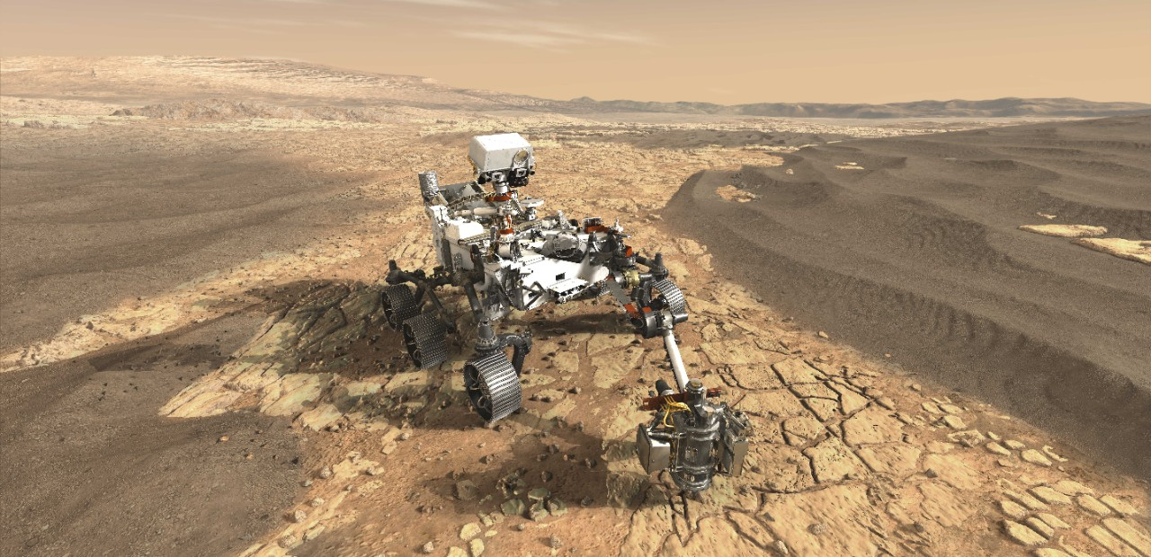 NASA's Perseverance rover on Mars as imagined by an illustrator.