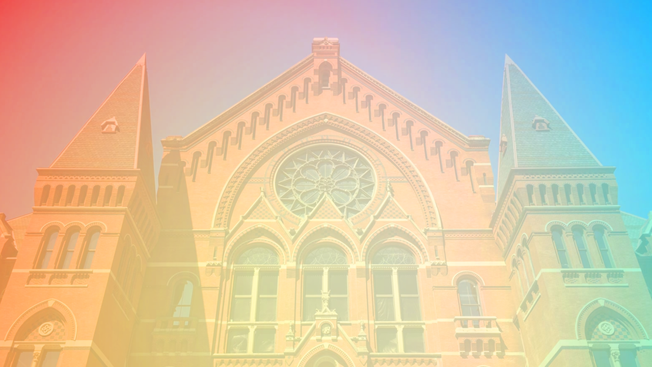 Music Hall in Cincinnati with rainbow overlay