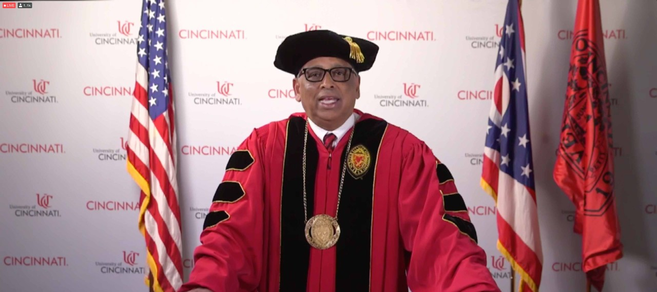 President Neville Pinto delivers his commencement address during UC's virtual commencement.