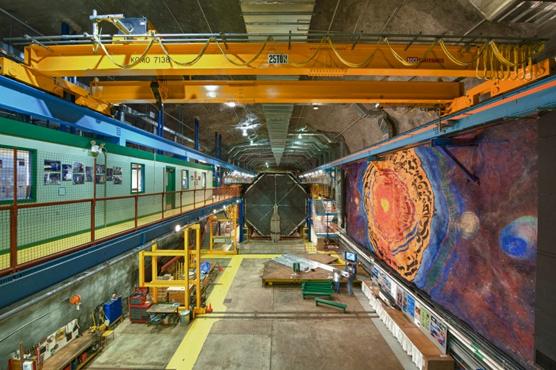 Fermilab's far detector in Minnesota features a mural on a cavern wall. It sits 450 miles away from a particle accelerator in Illinois. Fermilab's MINOS+ experiment was conceived to look for a subatomic particle called a sterile neutrino.