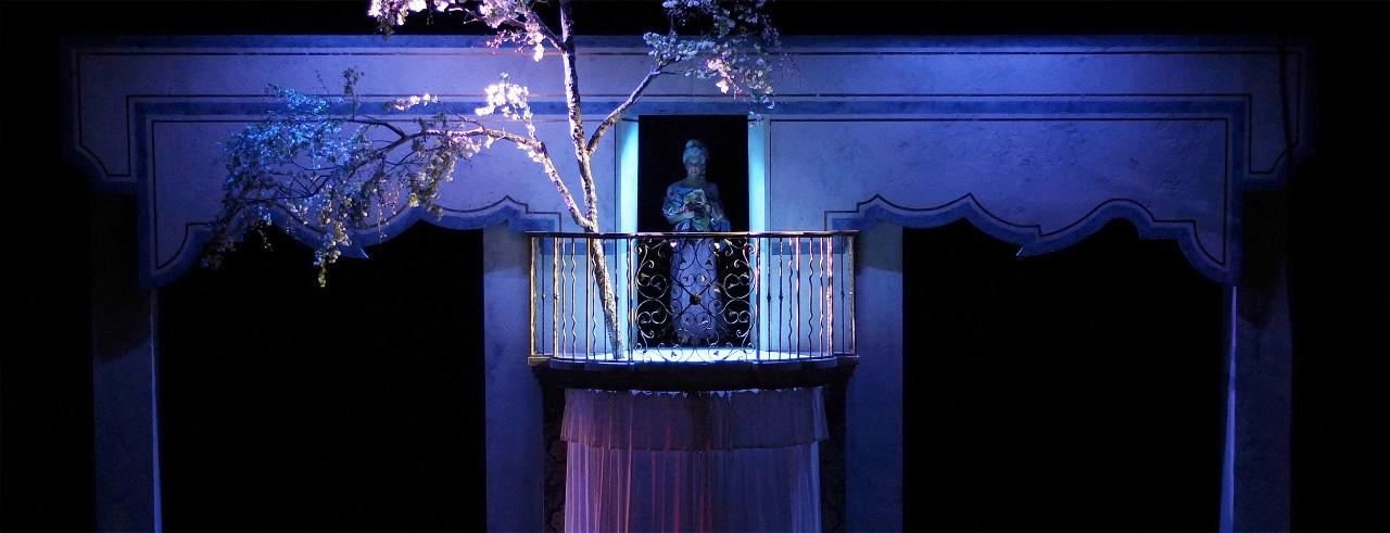 A production photo of La scala di seta directed by Greg Eldridge at Royal Opera House Covent Garden London. Photo/Holly Pigot