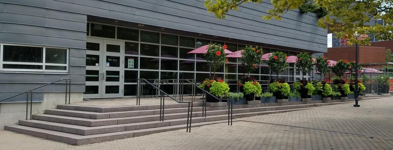 Exterior of Mick & Mack's restaurant at the southwest of MainStreet near University Pavilion