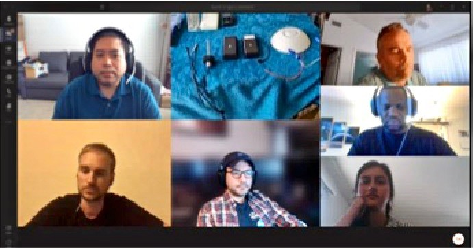 Computer screen grab showing six people in a virtual Zoom meeting.