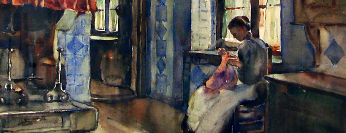 painting of woman doing needlework