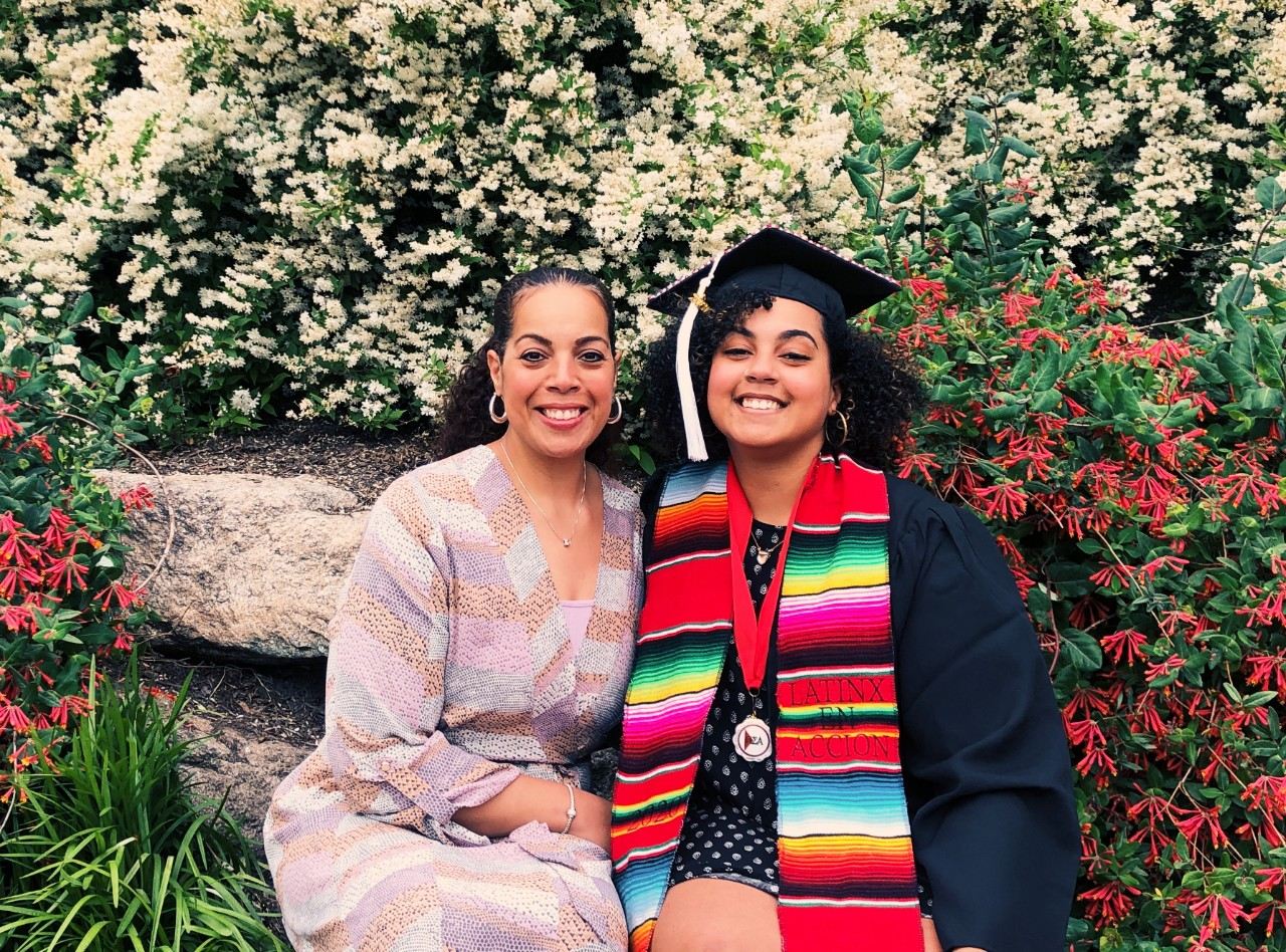 Lisette and Giselle Martinez pose together after Giselle's graduation